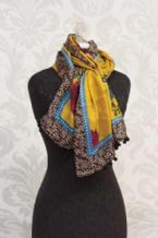 Scarf-He Loves You With An Everlasting Love-Gold & Purple Paisley
